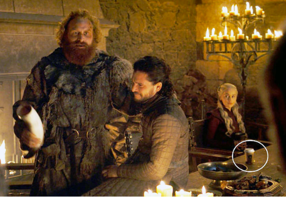 Scene from GOT with Starbucks cup