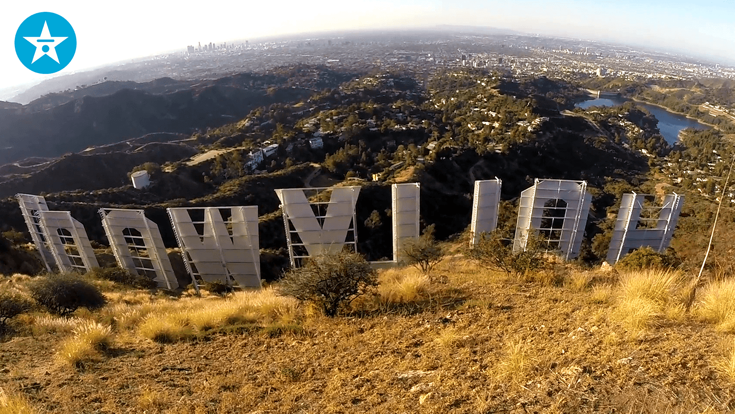 behind hollywood sign zoom background