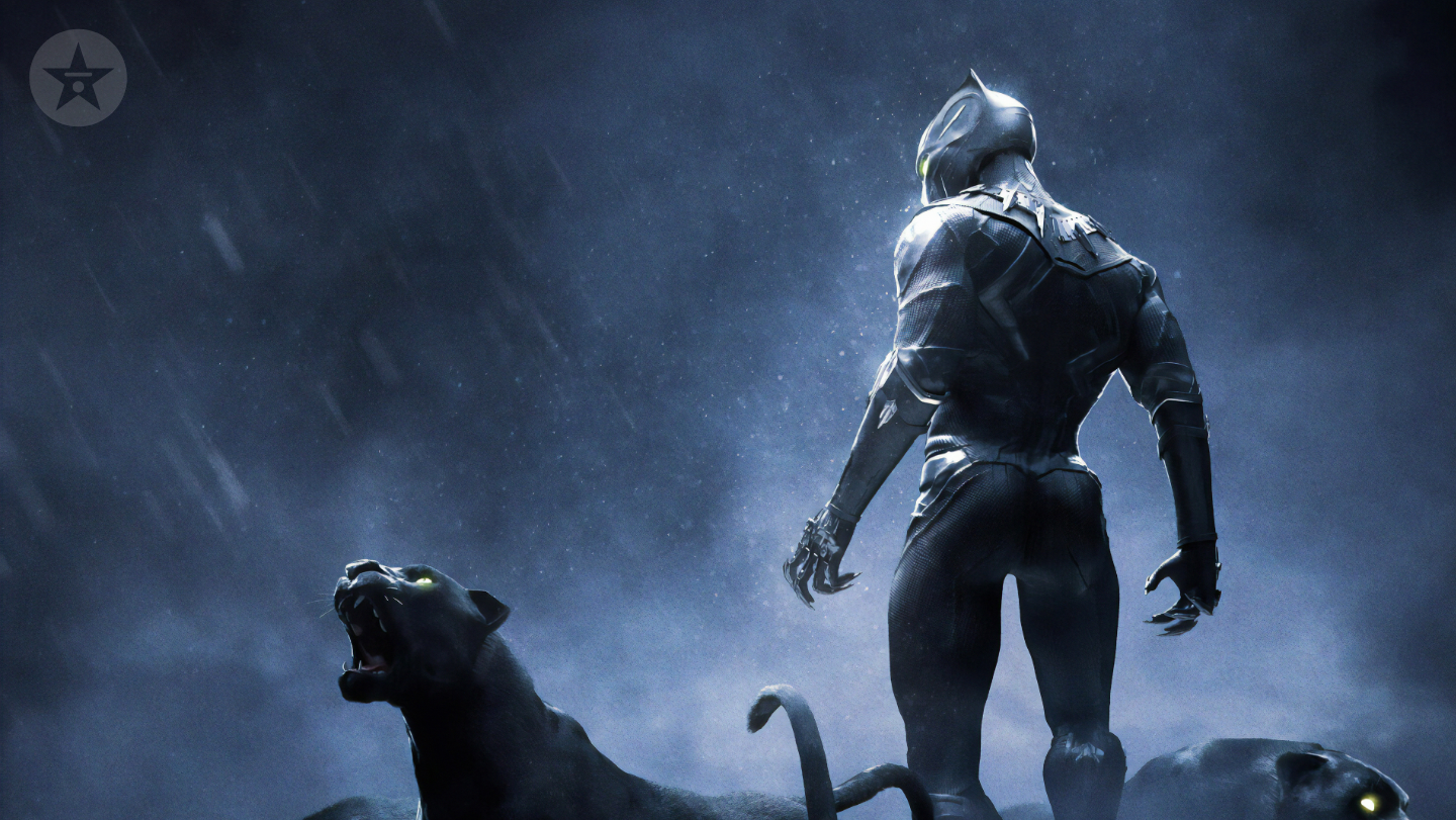 Black Panther with panthers movie background
