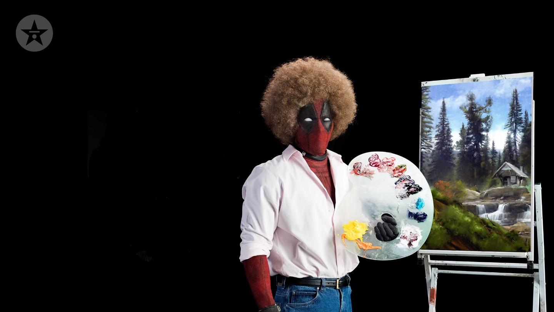 Deadpool Bob Ross painting background